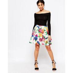Traffic Pleople Blaz Blooms Skater Skirt ($35) ❤ liked on Polyvore featuring skirts, white, white skater skirt, circle skirts, white flared skirt, high-waisted skater skirts and high rise skirts