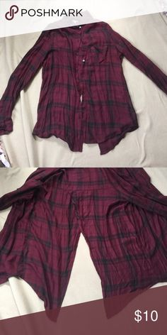 🎉One Day Sale! Slit back Charlotte Russe Flannel 💋Discounted Bundles💋 ▪️Make all offers through the button!  ▪️100% 5 star Feedback ⭐️ ▪️Fast shipping 📬 ▪️No trades 🚫 ▪️Condition- NWOT ▪️Description- Maroon and black slit back flannel, very silky like and soft material, good with a tank or crop top and a pair of jeans.  ▪️Closet closed 10/19-11/01 Charlotte Russe Tops Button Down Shirts
