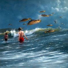 Surrealism Painting, Pop Surrealism, Jimmy Lawlor, Koi, Irish Painters, Magic Realism, Illusion Art, White Horses, Visionary Art