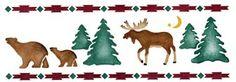 Moose & Bear Stencil - Canadian Nights - Large