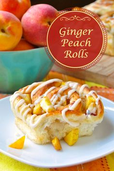 Ginger Peach Rolls - A delicious twist on traditional cinnamon buns using diced…