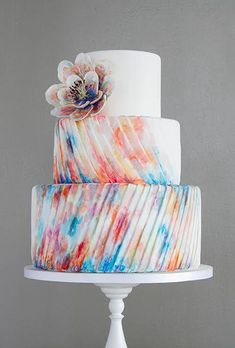 Whimsical Multicolor Watercolor Three-Tier Round Wedding Cake