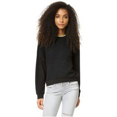 Monreal London Cropped Quilted Sweatshirt ($235) ❤ liked on Polyvore featuring tops, hoodies, sweatshirts, black, long sleeve sweatshirt, long sleeve tops, long sleeve crop top, neon tops and quilted crop top