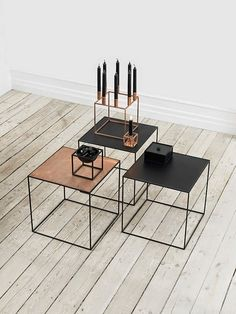 I like the style of these little tables, Lee, do you hate them? The Twin tables and the Kubus Collection in copper from Danish brand Lassen