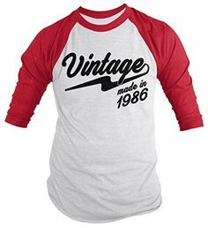 Shirts By Sarah Men's Vintage Made In 1986 30th Birthday Raglan Retro 3/4 Sleeve Shirts                                                                                                                                                                                 Más