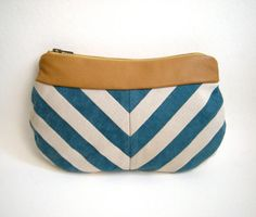 Lou collection blue and white chevron clutch