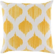 We just love bright yellow on this 100% cotton pillow! If you are trying to color coordinate a room, the Pantone TPX color used in the printing are Bright Yellow(14-0951), Khaki(13-0905). Please select size and pillow filler below. Also note that there is a 20% restocking fee to return this item, plus the cost of return shipping. Click images for greater detail.