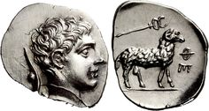 ARKADIA, Pheneos. Circa 370-340 BC. Obol (Silver, 0.92 g 7). Bust of youthful Hermes to right, his cloak tied around his neck and with his petasos hanging behind, suspended by a cord. Rev. ΦΕ Ram standing to right; above, kerykeion to right.