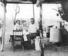 Josephine and Wyatt Earp, with Earpie, at a mining camp in Vidal, Calif., about 1920.