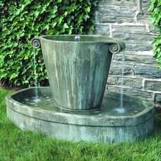 Campania International Anfora Cast Stone Outdoor Fountain - Fountains at Hayneedle 1700 Concrete Fountains, Garden Water Fountains, Stone Fountains, Water Garden, Outdoor Fountains, Fountain Garden, Fountain Ideas, Greek Garden, Outdoor Ponds