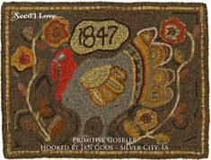 Primitive Gobbler Hooked Rug Canvas on Monks Cloth from Need'l Love and Renee Nanneman designed by Anne Nichols. Rug Hooking Patterns, Rug Patterns, Bird Pillow, Monks Cloth, Punch Needle Patterns, Rug Inspiration, Hand Hooked Rugs, Penny Rugs, Antique Bottles