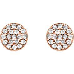 Round 14 Karat Rose Gold Diamond Cluster Earrings