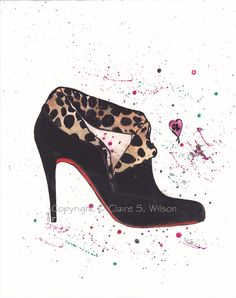The Louboutin Boot - Original watercolor 8x10. $40.00, via Etsy.