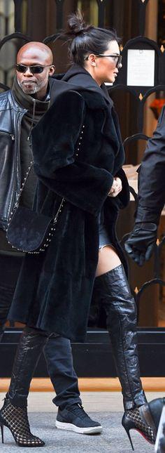 Kendall Jenner: Sweatshirt – House of Sunny  Shorts – Wrangler  Purse – Alexander Wang  Shoes – Christian Louboutin