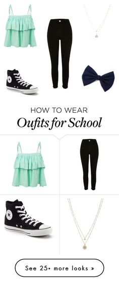 High School Chic by samanthakeow on Polyvore featuring LE3NO, Converse and LC Lauren Conrad - amzn.to/2g1fale