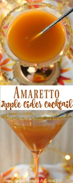 Amaretto Apple Cider Cocktail combines the best flavors in an easy to make beverage perfect for fall. You'll love the combination in this great drink. Drinks Amaretto Apple Cider Cocktail - Who Needs A Cape? Apple Cider Cocktail, Cider Cocktails, Cocktail Drinks, Cocktail Recipes, Cocktail Amaretto, Amaretto Drinks, Pomegranate Cocktails, Apple Cider Drink, Bourbon Drinks