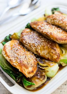 Chicken cutlets and baby bok choy make a super fast and easy weeknight meal. 30 minutes, start to finish. Cooks all in one pan, so minimal clean up.