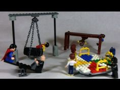 How To Build a LEGO playground (see-saw, monkey bars, tire swing, merry go-round)