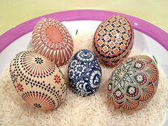Highly patterned Easter eggs from Germany.