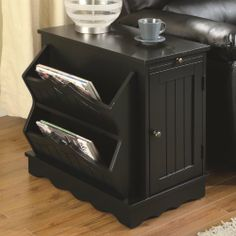 Country Style End Table With Magazine Rack In Black Finish By Coaster  Furniture Coaster Home Furnishings