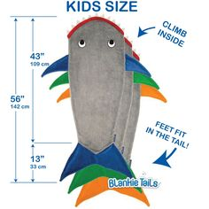Kids Shark Blanket by Blankie Tails® -  Assorted Colors - Blankie Tails - 6