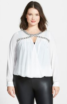 City Chic Embellished Surplice Blouse (Plus Size) available at #Nordstrom