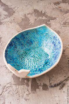 """Купить Салатник из серии """"Cyprus fauna"""" - бирюзовый, голубой, голубой цвет, бирюзовый цвет, лазурный"""
