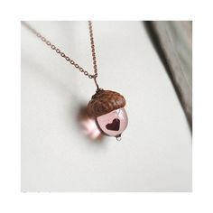 Glass Acorn Necklace - Mini Peter Pan Kiss with Heart by Bullseyebeads ($28) ❤ liked on Polyvore