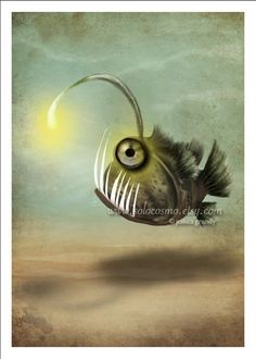 Angler Fish Art 5x7 Print Mr. Fishy on His Own by solocosmo, $10.00