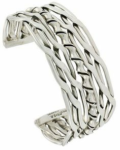 Sterling Silver Double Celtic Braid Wire Cuff Bangle Bracelet with Bamboo center 23 mm (7/8 in.) wide Sabrina Silver. $247.19