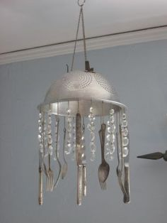 kitchen windchime. Upcycle those old hand-me-down pots, pans and colanders