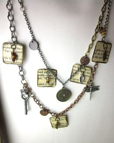 Book page charm necklace, literary necklace, book jewelry, paper bead