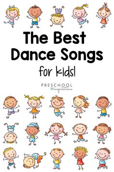 Dance songs for kids are the best remedy for stir crazy little ones! They're great for when the weather isn't cooperating, when they need to get the wiggles out, or anytime just for fun! Dance Activities For Kids, Preschool Circle Time Songs, Creative Activities For Kids, Preschool Music, English Activities, Preschool Learning Activities, Music Activities, Kids Songs, Kids Learning