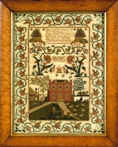 Silk on linen needlework wrought by Miss Margaret Smith 184_,