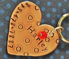 Custom Pet id tag / Harley Heart Copper Large by PoochyCouture, $12.00
