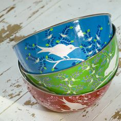 The Large Nkuku Eva Hand Painted Enamel Bowl features bright bold colours & delicate detailing. Do It Yourself Crafts, Salad Bowls, Fruit Bowls, Al Fresco Dining, Kitchen Colors, Decorative Bowls, Personalized Gifts, Unique Gifts, Pottery