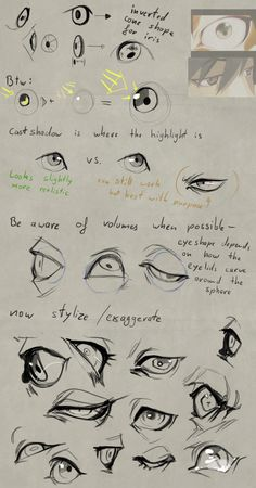 Anatomy Drawing Tutorial Eye 'tutorial' by Remarin - Body Reference Drawing, Body Drawing, Anatomy Drawing, Anatomy Art, Art Reference Poses, Drawing Skills, Drawing Tips, Drawing Practice, Drawing Techniques