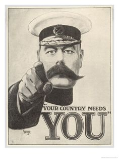 An poster sized print, approx (other products available) - Your Country Needs You This direct and graphic recruitment poster featuring Lord Kitchener, aimed to command and inspire. - Image supplied by Mary Evans Prints Online - Poster printed in the USA Wilhelm Ii, Kaiser Wilhelm, Vintage Posters, Vintage Art, Ww1 Propaganda Posters, Ww1 Art, Fine Art Prints, Canvas Prints, Canvas Art