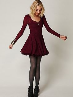 Free People Floral Lace Fit and Flare Dress