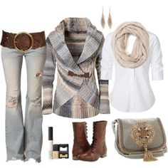 I luv the sweater, jeans scarf and top. I would use a different purse and shoes/boots with my own jewelry. Luv that belt.  akt            Fall layers & sweaters & belts