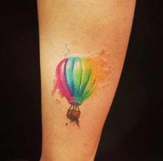Watercolour tattoo hot air balloon