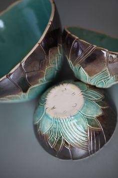 Turquaise#ceramic#bowls#relief