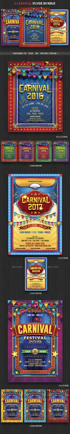 Buy Carnival Flyer Bundle by creativeartx on GraphicRiver.PSD 2 Flyers- bleed) 1 Flyer- bleed) C.
