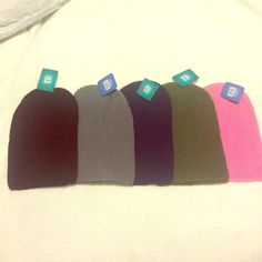 NWT Knit Sock Beanies Lot of five for $50 or 1 for $13. If you'd like to purchase just one I can make a separate listing for you. These adorable beanies are brand new with the tags. They come in Pink, Camo Green, Navy, Gray & Black Accessories Hats
