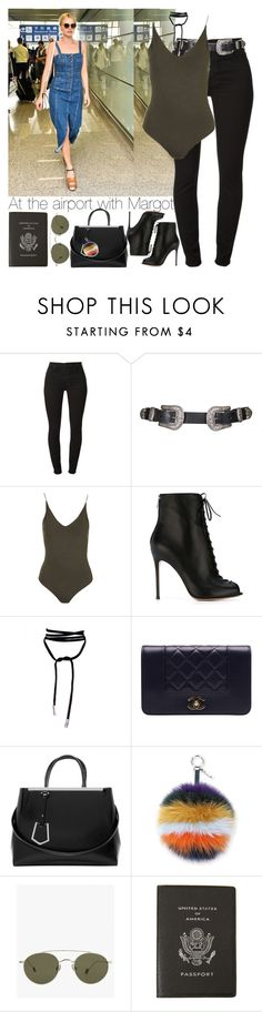 """""""At the airport with Margot."""" by outfitsbynina9 ❤ liked on Polyvore featuring 7 For All Mankind, Topshop, Gianvito Rossi, Chanel, Fendi, Ahlem and Smythson"""