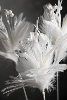 NEED---Feathers White Feather Stem with Pearls & Crystals 22 in.