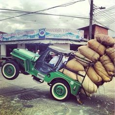 In the Coffee Triangle of Columbia, the locals worship an unlikely icon– the Willys Jeep, America's military vehicle of choice during World War II. Every year in the small towns of Quindío, there's a big folkloric parade celebrating the utility vehicles, loaded with (literally) everything but the ki