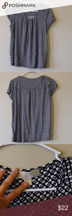 Michael Kors blouse -Michael Kors work shirt, funky black and white pattern -Soft and flowy -100% rayon KORS Michael Kors Tops Blouses
