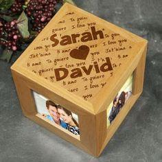 Personalized Engraved I Love You Wedding Photo Frame Cube