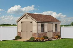 Want to match your brick house? Some added brick siding on this cape style building can be a nice touch! Vinyl Storage Sheds, Vinyl Sheds, Shed Storage, 10x10 Shed Plans, Brick Siding, Build Your Own Shed, Architecture Details, Storage Solutions, Tiny House